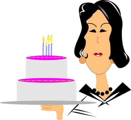 dazzling: mature woman wishing a happy birthday