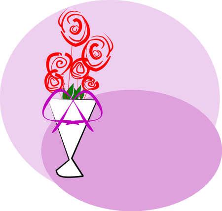 six roses in vase Vector