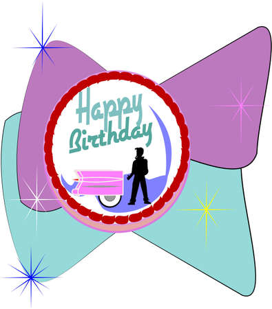 fifties birthday cake Vector