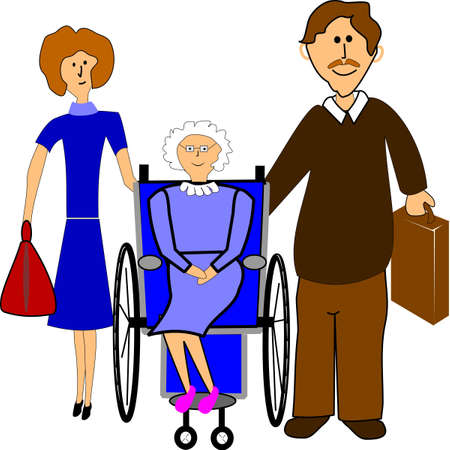 nurse home: helping hand for the elderly Illustration