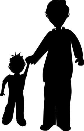 father and son holding hands: father and son silhouette