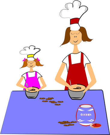 mom and daughter baking choclate chip cookies Vector