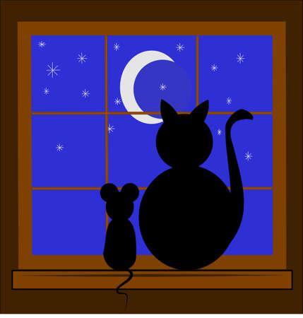 silueta de gato: gato y el ratón son los mejores amigos Vectores