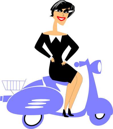 유럽의: european woman on scooter posing