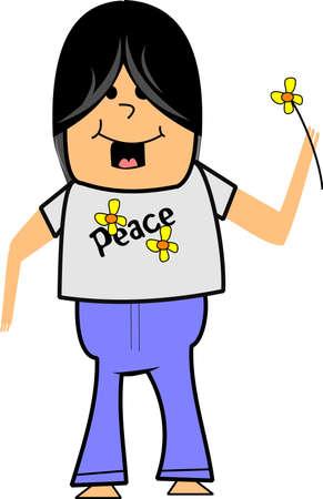 hippie boy from sixties in cartoon style Stock Illustratie