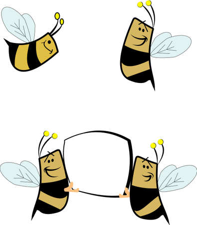 bees with copy space on white Stock Illustratie