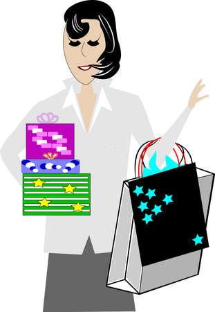 distinguished: mature woman shopping at christmas
