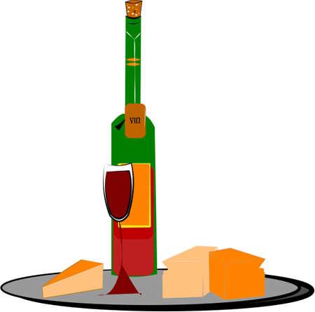 ワインとチーズ  イラスト・ベクター素材