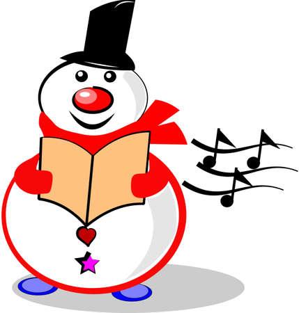 Muñeco de nieve cantando en blanco Foto de archivo - 10985030
