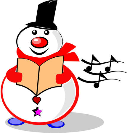 christmas carols: singing snowman on white  Illustration