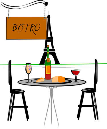 romantic getaway: classic bistro Illustration