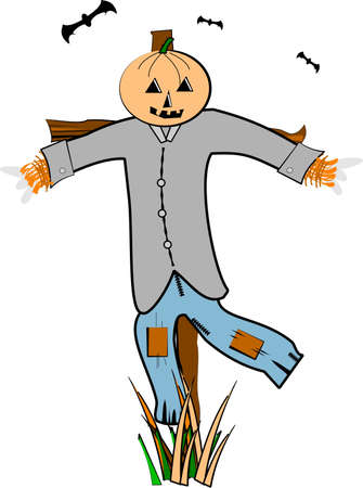 scarecrow on white alone in field Illustration