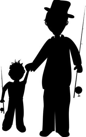 walking on hands: father and son going fishing