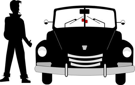 greaser  with hotrod from fifties Stock Vector - 11153780