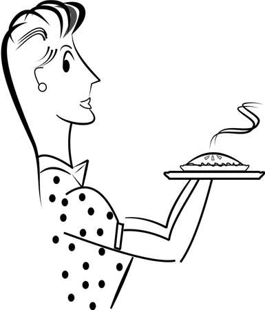 pastel de manzana: madre de hornear un pastel de manzana l�nea de boceto de arte Vectores