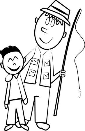 father and son fishing sketch Vector