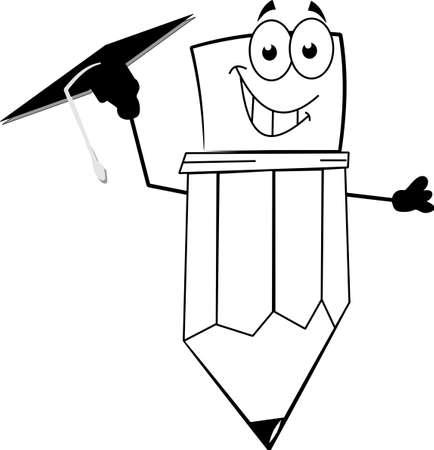 mortar board: grad pencil
