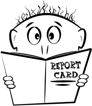young boy with report card