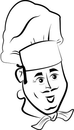 chefs cooking: sketch of chef in hat with scarf Illustration