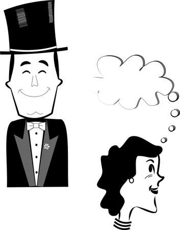 well dressed man in top hat and tuxedo Illustration
