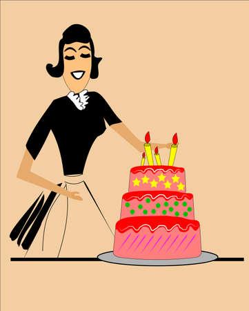 era: retro mom with birthday cake Illustration