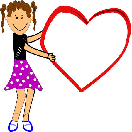 be mine: valentines message with young girl Illustration