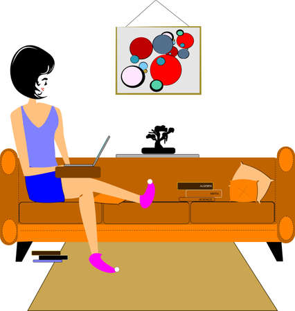 girl with laptop on couch