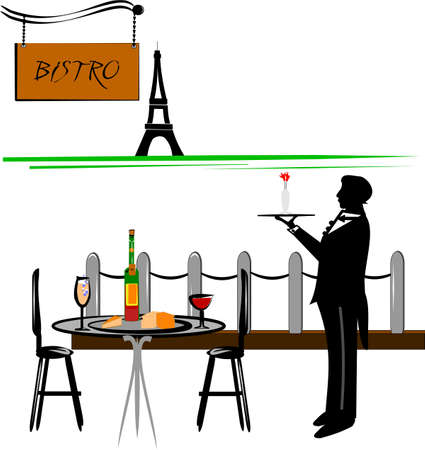 paris cafe with waiter Vector