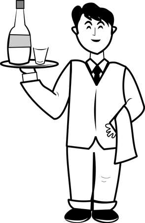 young male waiter  Vector