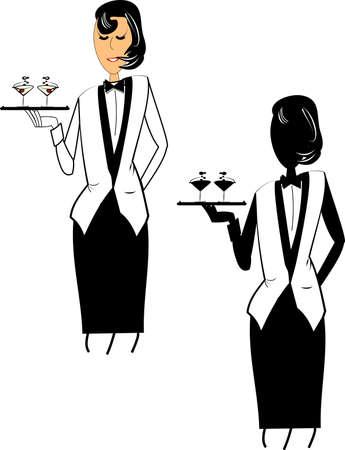 serving tray: female waitress on white vector