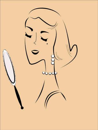 거울을 가진 여자 일러스트