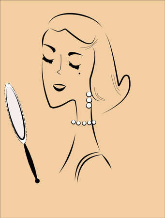 looking in mirror: woman with mirror