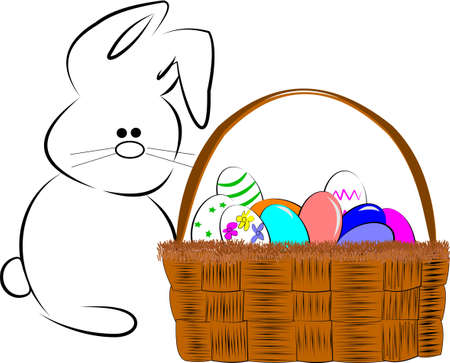 boiled eggs: easter bunny with basket of eggs