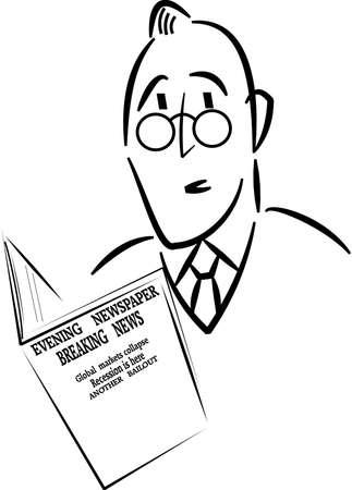 bad news: man reading bad news in newspaper
