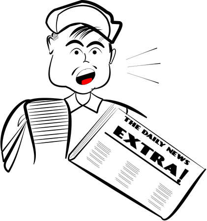 newsboy over white with newspaper Stock Vector - 11655438