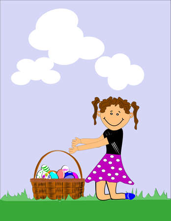 lil girl at easter Vector