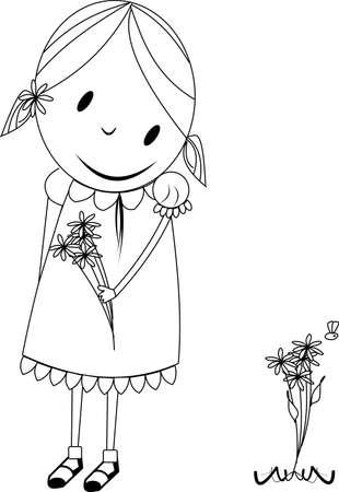 little girl in spring Ilustração