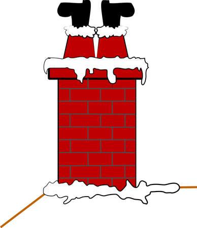 Stuck Kerstman in schoorsteen