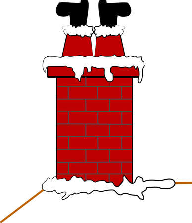 stuck santa in chimney  Vector