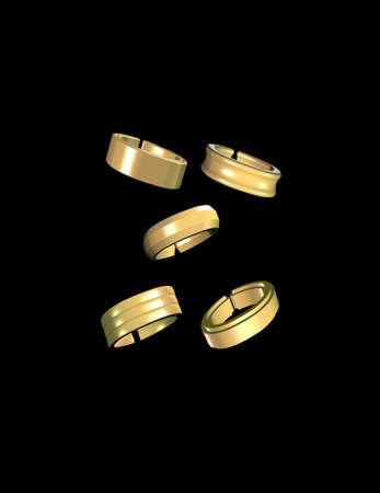 Gold Bands auf schwarz Standard-Bild - 11809379