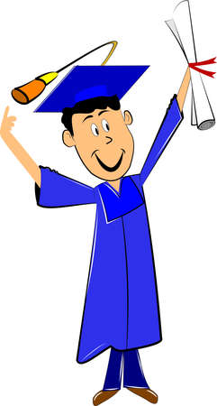 grad pointing finger at hat and holding diploma Stock Vector - 11809395