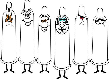 assortiment condooms in cartoon-stijl
