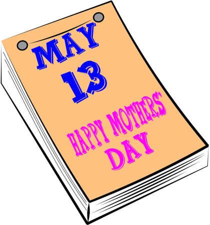 calendar: mothers day calendar over white Illustration