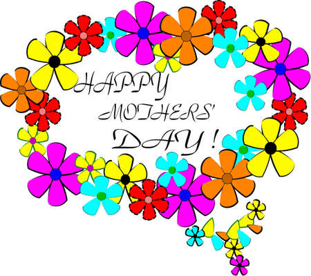 love mom: mothers day ring of flowers background