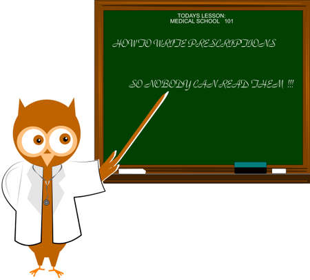 owl illustration: doctor owl giving lessons to doctors Illustration