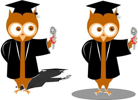 graduation owls over white Illustration