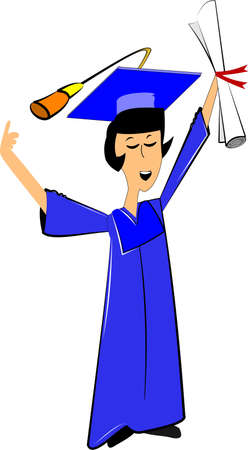 female grad in blue gown with diploma Illustration