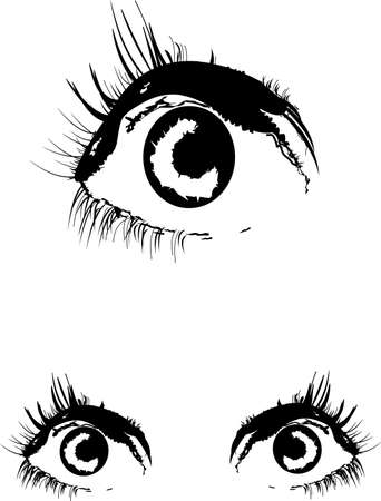 eyes in two styles over white vector Stock Vector - 11874444