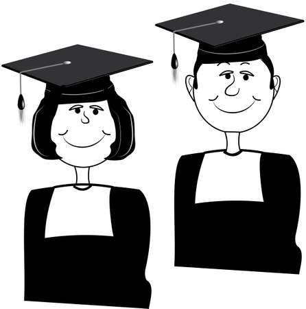 graduating twins over white  Vector