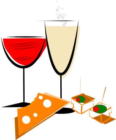 hwite 上のワイン チーズ抽象